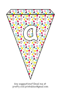 Printable bunting display bulletin letters numbers and more: Rainbow Heart