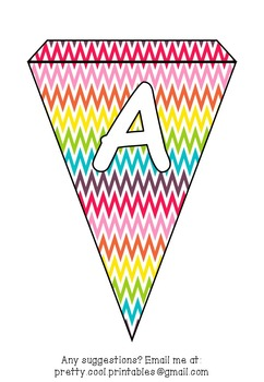 Printable bunting display bulletin letters numbers and more: Rainbow ZigZag