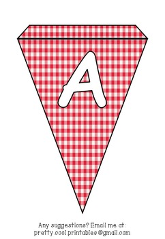 Printable bunting display bulletin letters numbers and more: Red Gingham