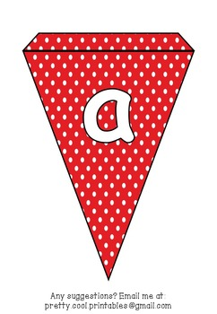 Printable bunting display bulletin letters numbers and more: Red Polka