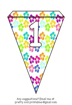 Printable bunting display bulletin letters numbers and more: Tropical