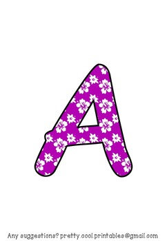 Printable display bulletin letters numbers and more: Tropical Purple