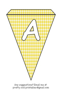 Printable bunting display bulletin letters numbers and more: Yellow Gingham