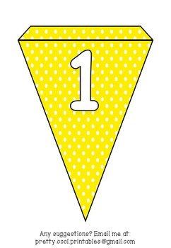Printable bunting display bulletin letters numbers and more: Yellow Polka