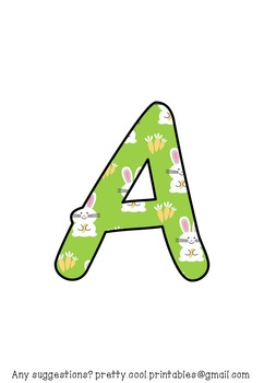 Printable display bulletin letters numbers and more: Easter Bunny
