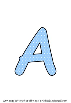 Printable display bulletin letters numbers and more: Blue Heart Dot