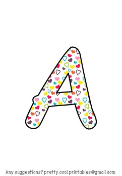 Printable display bulletin letters numbers and more: Hearts