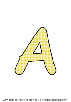 Printable display bulletin letters numbers and more: Yellow Gingham