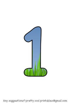 Printable display bulletin letters numbers and more: Grass and Sky