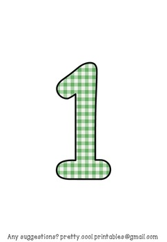 Printable display bulletin letters numbers and more: Green Gingham