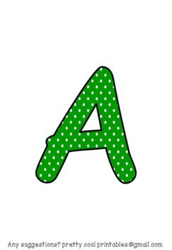 Printable display bulletin letters numbers and more: Green Polka Dot