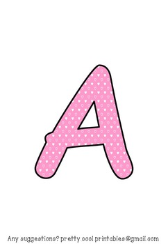 Printable display bulletin letters numbers and more: Pink Heart Dot