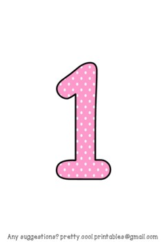 Printable display bulletin letters numbers and more: Pink Polka Dot