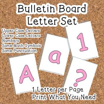 Printable display bulletin letters numbers and more: Pink Polka Dot