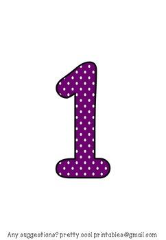 Printable display bulletin letters numbers and more: Purple Polka Dot