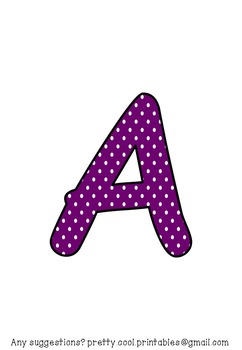Printable display bulletin letters numbers and more: Purple Polka Dot