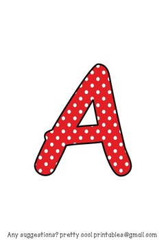Printable display bulletin letters numbers and more: Red Polka Dot