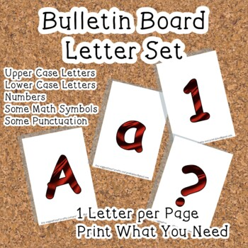 Printable display bulletin letters numbers and more: Red Silk