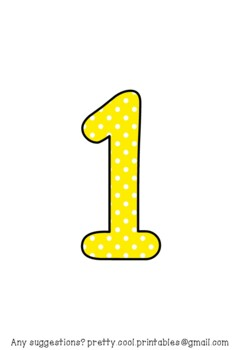 Printable display bulletin letters numbers and more: Yellow Polka Dot