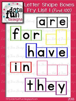 Letter Shape Boxes: Fry Words First 100: List 1