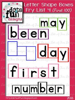 Letter Shape Boxes: Fry Words First 100: List 4
