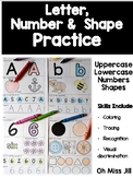 Letter, Shape and Number Practice for Preschool and Kindergarten