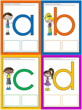 Letter Shapes and Sounds: Play dough mats with picture cards