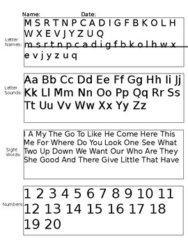 Letter/Sight word/number testing template