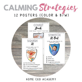 Calming Strategy Posters (12 Color and B/W)