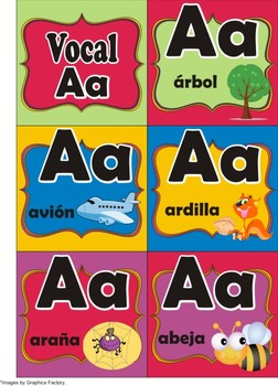 Spanish Vowels Flash Cards and Matching Game