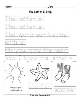 Letter Song Worksheet Sample Page