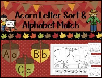 Letter Sort & Alphabet Match: Fall Themed