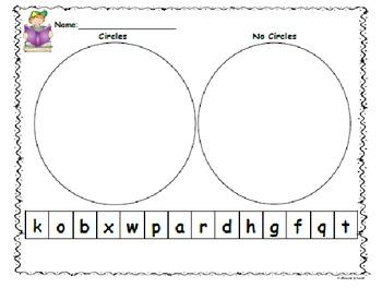 Kindergarten Letter Sort Circles/No Circles