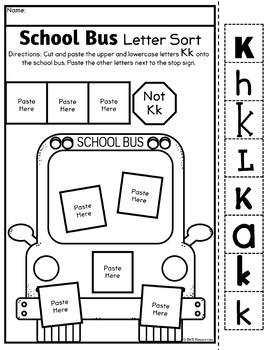 Letter Sort Cut and Paste ● Alphabet Sorting ● School Bus