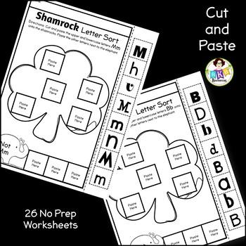 Letter Sort Cut and Paste ● Alphabet Sorting ● Shamrocks