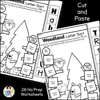 Letter Sort Cut and Paste ● Alphabet Sorting ● Woodland