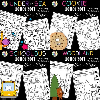Letter Sort Cut and Paste BUNDLE 2 ● Alphabet Sorting ● Print and Go