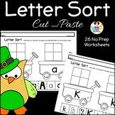 Alphabet Letter Sort ● Letter Sort Cut and Paste ● St. Patrick's Day ● No Prep