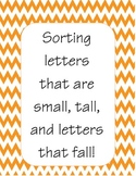 Letter Sort - Letters that are tall, small, and that fall