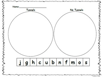 Kindergarten Letter Sort Tunnels/No Tunnels