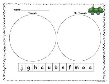 Kindergarten Letter Sort Tunnels/No Tunnels