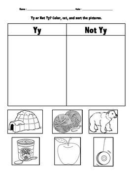 Letter Sort (Yy and Not Yy) Phonemic Awareness/Beginning Sounds
