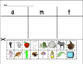 Letter Sort for Letters A, M, and T--Kindergarten Reading Street