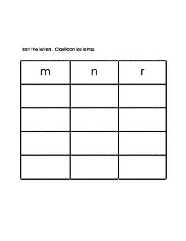 Letter Sorts, Letter Differentiation, Alphabet Work, Homework- Eng and Spanish