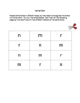 Letter Sorts, Letter Differentiation, Alphabet Work, Homework