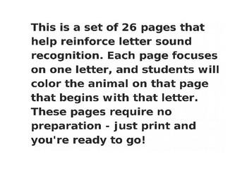 Letter Sound Animal Coloring Pages
