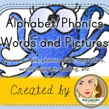 Letter-Sound, Beginning Phoneme, Letter Sounds - Word Wall Cards with Pictures