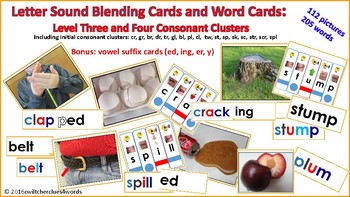 Letter Sound Blending Cards: Level Three and Four Consonant Clusters