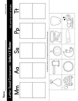 Letter Sound Comparison Sorts (Reading Wonders Kindergarten Units 1 and 2)