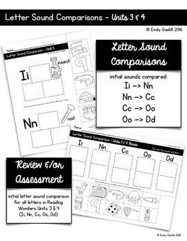 Letter Sound Comparison Sorts (Reading Wonders Kindergarten Units 3 and 4)